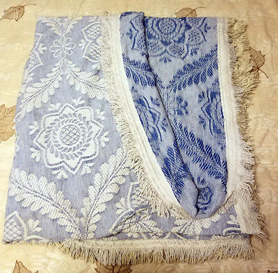 Vintage Morgan Jones Full Size Reversible Blue Chenille Bedspread
