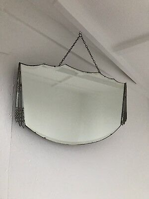 Vintage Scalloped Edge Frameless Rectangle Mirror Patina Mirror Art Deco Mirror