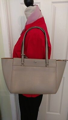 fc06697b66bb  268 - Tory Burch Parker Small Tote in Gray Leather (Cardamom inside)  Authentic