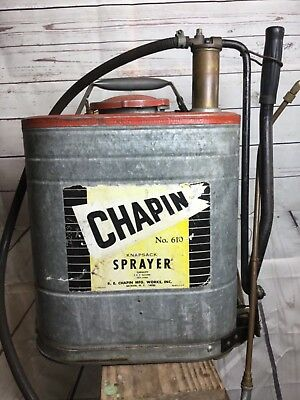 VINTAGE R.E. CHAPIN COMPRESSED AIR SPRAYER GARDEN PUMP GALVANIZED 5 gal 610 pest