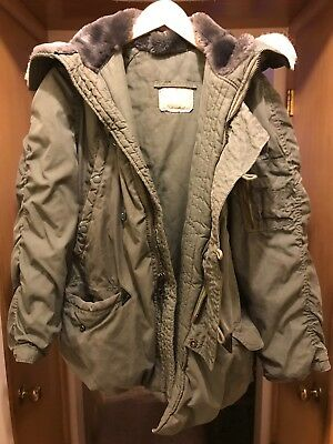 Snorkel Parka Extreme Cold Weather N-3B Sage Grn Synthetic Fur Hood Men's Small