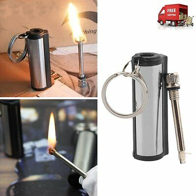 High quality Permanent Match Striker Torch Lighter with Key Chain Silver Metal@#