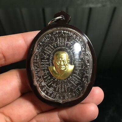 Phra Lp Thuad Lan Yant Thai Buddha Amulet Pendant Luck Rich Charm Protect.
