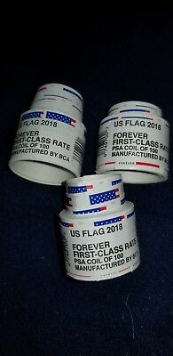USPS- US Forever Flag stamps/3 coils of 100each Never opened(300 ) $150 value