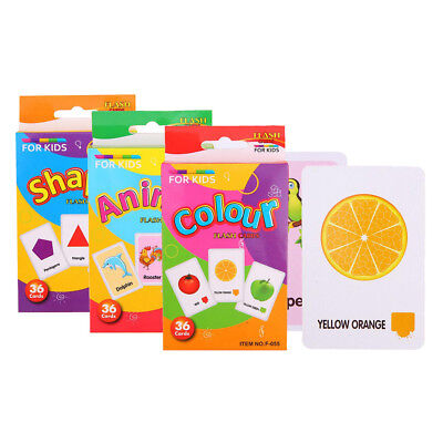 36Pcs Kids Flash Cards Flashcards for Preschool Learning Shape/Animal/Color