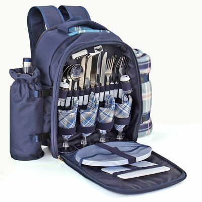 Flexzion Picnic Backpack Kit - Set for 4 Person With Cooler Compartment, Holder,