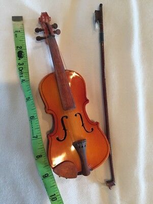 "Miniature String Instrument Violin Cello Bass Fiddle Wood Vintage Antique 9"" x3"""