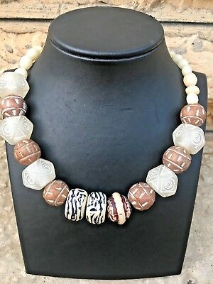 Antique Vintage Chinese Rare Stone Big Beads Necklace Long 14.96 Inch