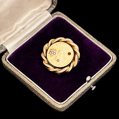 Antique Vintage Nouveau 14k Yellow Rose Gold Floral Bohemian Garnet Pin Brooch