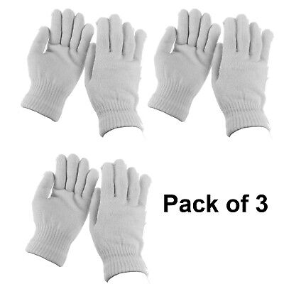 Lot of 3 Men Women WHITE Winter Warmer Knit Knitted Casual Gloves Stretch