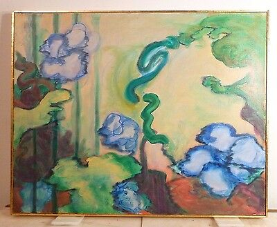 VINTAGE ABSTRACT MODERNIST BOTANICAL OIL PAINTING Mid Century Modern Signed