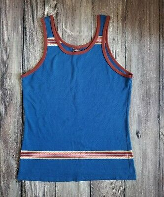 Mens Vtg 70s 80s CAMPUS Blue Brown Grid Striped Tank Top Size Large 50/50 *Rare