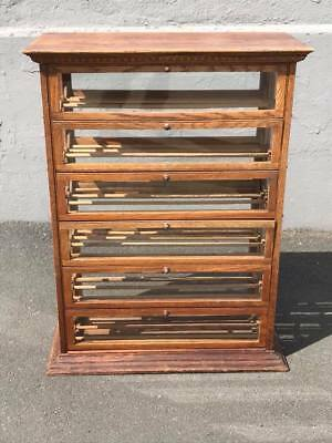 Antique Oak Ribbon Cabinet,General Store/Mercantile Display Cabinet