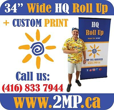 """LUXURY HQ 34"""" Trade Show Retractable Roll Up Banner Stand Pop Up Display + PRINT"""