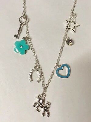 Justice Unicorn Charm Necklace Jewelry Girls Gift Silver Teal Accessories New