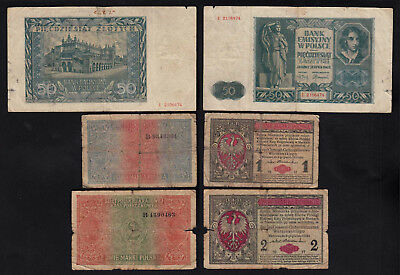 Poland - 3 old Banknotes 1917, 1917, 1941 heavily used    (22519