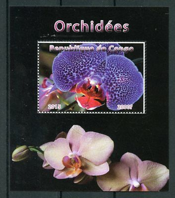 Congo 2015 CTO Orchid Orchids 1v M/S Flowers Flora Nature Stamps