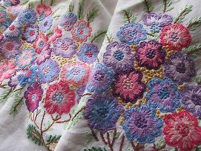 Stunning!! Vintage Heavily Hand Embroidered Floral Linen Tablecloth