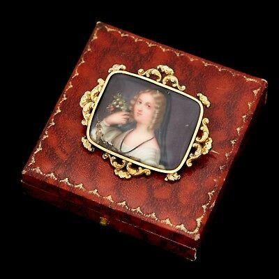 Antique Vintage Georgian 14k Rose Gold Rococo Miniature Oil Painting Pin Brooch