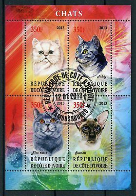 Ivory Coast 2013 CTO Cats Russian Blue Tabby Siamese 4v M/S Chats Cat Stamps