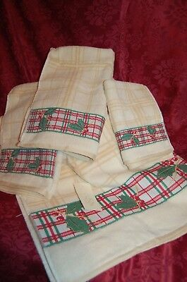 Set Of 4 Lenox Christmas Holiday Bath Hand Fingertip Towels Ivory New Nwt Deluxe