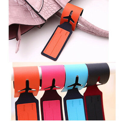 Leather Luggage Tag Labels Strap Name Address ID Suitcase Bag Baggage Travel Hot