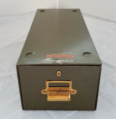 Steel & Brass Cabinet File Drawer Card Cabinet with Spring Latch Yawman & Erbe