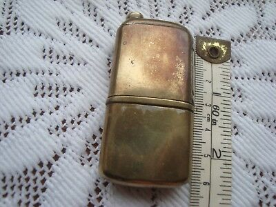 Rare Antique French Trench Brass Petrol Lighter Briquet Tobacciana Tax Seal