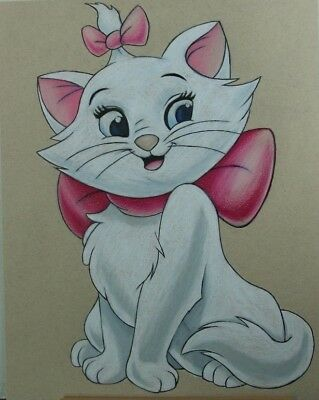 Marie from The Aristocats Drawing In Color Pencil - Cartoon Artwork