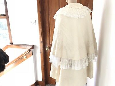 Antique large hand embroidered cream wool silk & lace child's christening cape