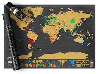 Scratch Off World Travel Map Poster Deluxe Edition Travel Log 82.5 x 59.4cm NEW
