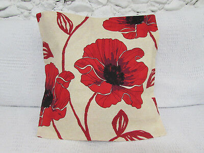 Luxury Cushion Cover, Poppies, Red, Beige, Black, Floral, Cotton.