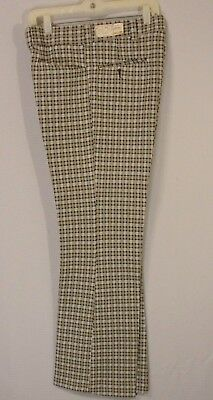 True Vtg 70s Mens JC Penney Check Plaid Polyester Flare Pants NOS New