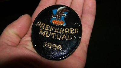 PREFERRED MUTUAL 1896 - Fire Insurance Company Agency  VINTAGE SIGN/MARKER