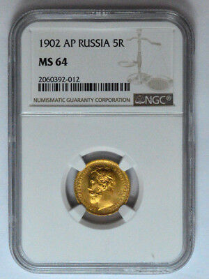 1902 Ap Russia 5R  Ngc Ms 64 Rouble Gold Old Coin Imperial Nicholas Ii , Graded!