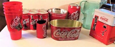 Mixed Lot of Coke Coca-Cola Advertising Tins Glasses Pitcher Baskets Bank 11 Pcs
