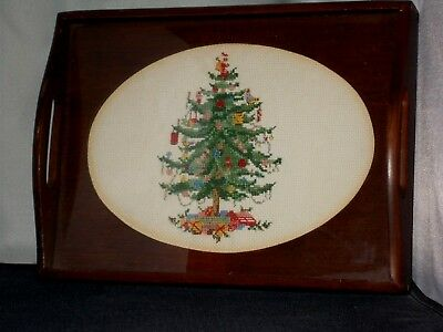 """Wooden Tray With Completed Cross Stitch Christmas Tree In Center Oval 9""""x12"""""""