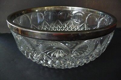 "Vtg Silver Plated Mounted Cut Glass Bowl Marked Germany 8 1/4"" dia  X 3 1/2 tall"