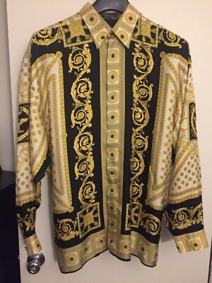 eac92f20 GIANNI VERSACE MEN'S SILK SHIRT Classic V2 Vintage 90s Baroque Eagle Crown