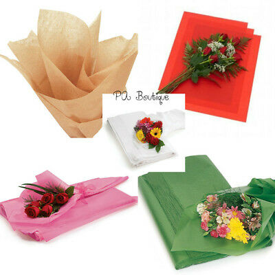 "FLORAL WAXED Tissue Paper Bouquet Wrapping 24""x36"" X-Large Sheets YOUR CHOICE!"