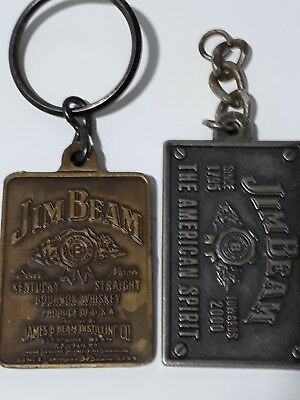 Jim Beam -  double sided key ring brass  + towards 2000  - collectable