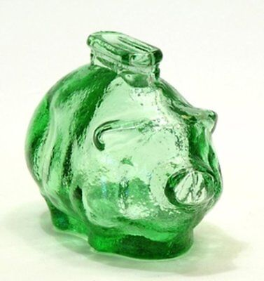 Green Glass Vintage Depression Style Pig Bank New One 1