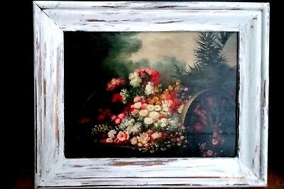 Still life oil painting,Shabby Chic,Floral,pink Roses,Florida Retro framed