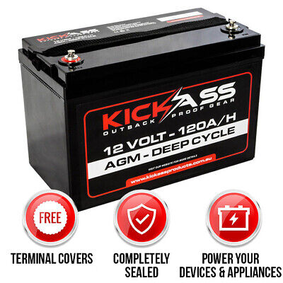 KICKASS 12V 120AH Portable Deep Cycle AGM Battery for Dual Systems