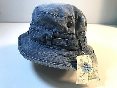 NWT BRONER Blue Denim Brimmed Bucket Sun Hat - Cotton VENTED One Size Fits  Most 603625099064