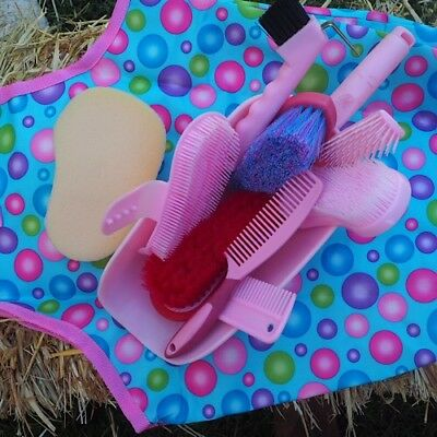 Grooming Kit For Stable In Pink  Horse/Pony ~ 11 Piece Set Includes Hay Bag