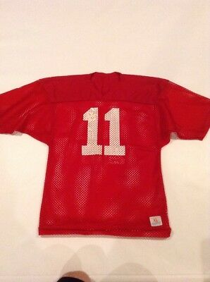 VINTAGE 70's 80's CHAMPION MESH FOOTBALL PRACTICE JERSEY #11 SZ XL RED/White