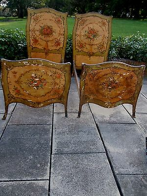 SIGNED ITALIAN VENETIAN PAINTED French, Multi-Color FLORAL TWIN/DAY BEDS