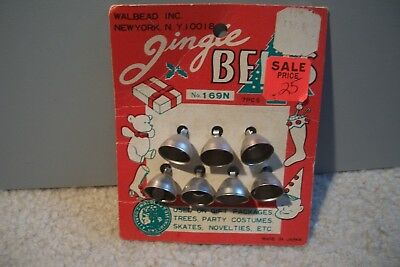 Vintage Walbead Silver Jingle Bells on Original Card
