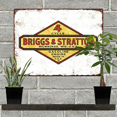 """Briggs and Stratton 4 Cycle Gasoline Engine Metal Sign Repro 9x12"""" 60543"""